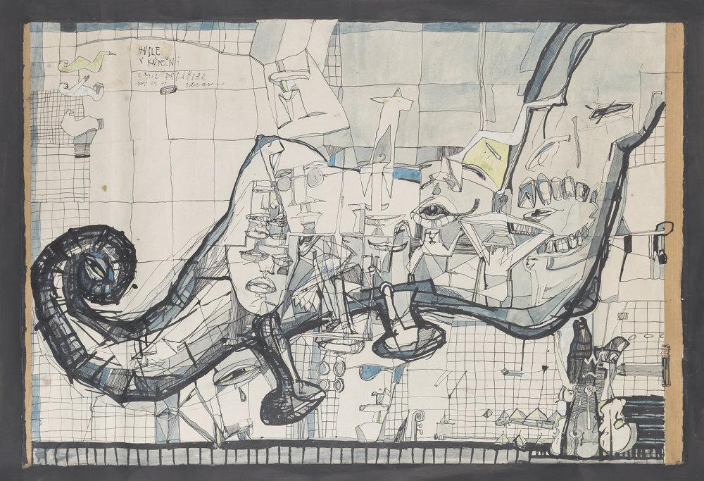 Husle v kúpeľni. Tuš, akvarel, 1991.