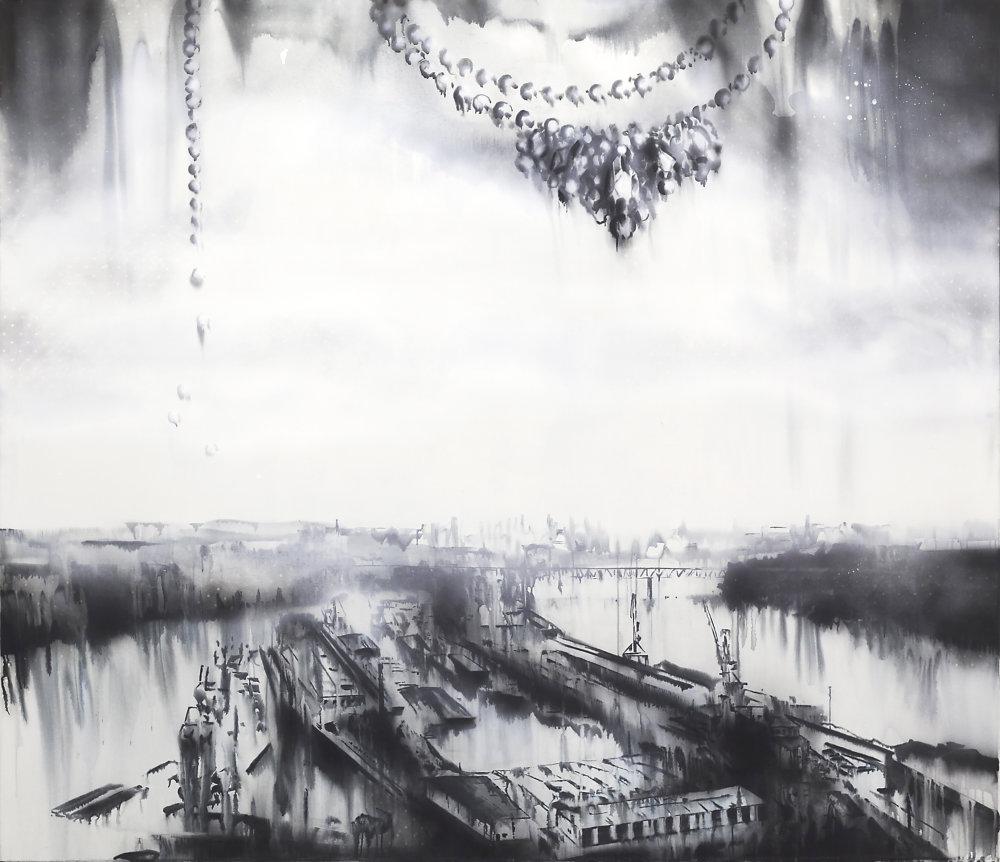 Lucia Tallová, Zimný prístav II. 190 x 220 cm, akryl na plátne, 2014