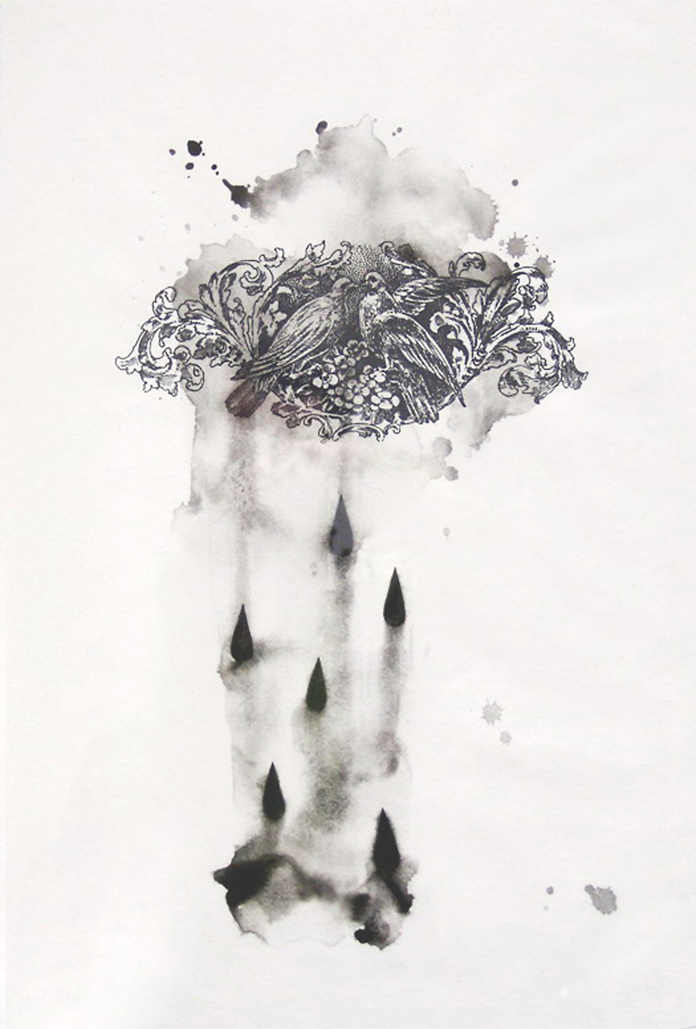 Lucia Tallova, zo série Schwarzer Regen, 52 x 38 cm, sieťotlač a akvarel na papieri, 2012