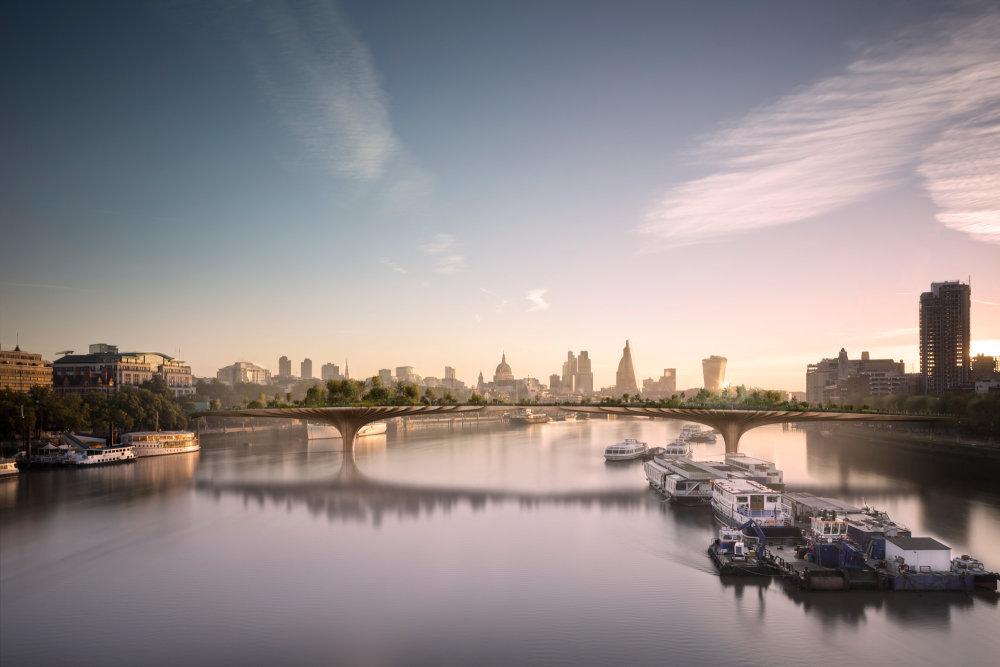 Vizualizácia Garden Bridge v Londýne.