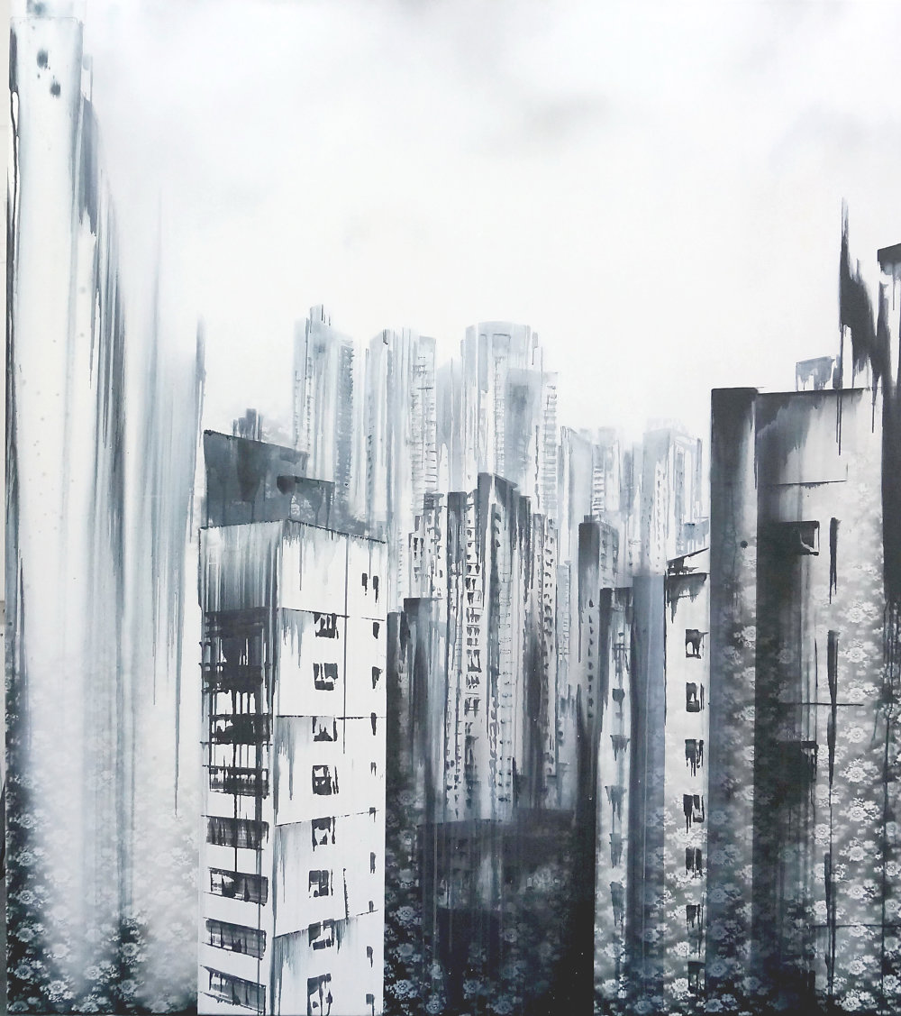 Lucia Tallová, Hong Kong, 170 x 150 cm, akryl na plátne, 2015, 02.