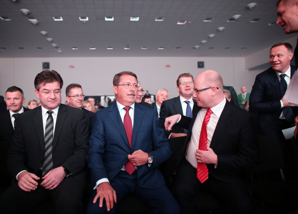 Snem Smeru v Nitre: Miroslav Lajčák, Pavol Paška, Bohuslav Sobotka, Robert Fico, Viliam Čislák