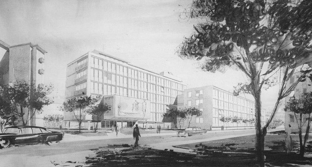 Prírodovedecká fakulta UK, niekdajšia Šmeralova ulica, Bratislava, Mária Krukovská, 1962, zbúrané pri výstavbe Mosta SNP Zdroj: Archív M. Krukovskej