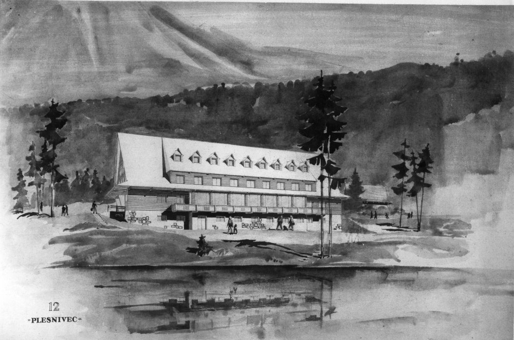 Chata na Popradskom plese, 2. cena v súťaži (1. cena nebola udelená), Štefánia Krumlová, 1956. Zdroj: Archív Š. Krumlovej