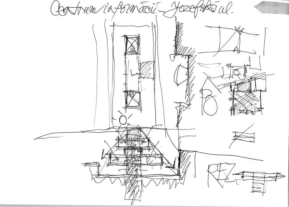 Nerealizovaný projekt Technickej knižnice v Bratislave, skica architekta Vladimíra Dedečka.