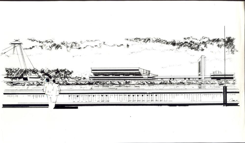 Veľká športová hala ktorú architek navrhol v roku 1988 v rámci dnešného areálu Incheba Expo.
