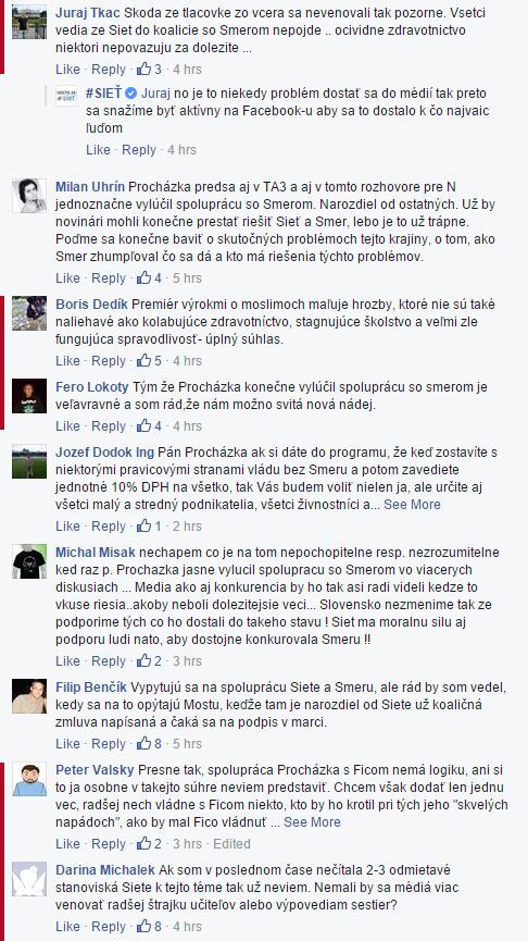 Piatková diskusia na facebookovej stránke strany Sieť. Minimálne päť komentárov napísali falošní diskutéri. Ich príspevky sú zvýraznené červenou.