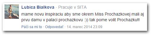 Lubica Bialkova uvádza, že pracuje v agentúre SITA. Fotka je ukradnutá z internetu, v URL adrese profilu je meno Tatiana Galová. Procházku takto podporovala pod článkom o Miss Universe 2014 na webe pluska.sk.