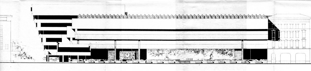 Pohľad na pôvodný projekt hlavnej fasády Slovenskej národnej galérie v Bratislave, Archív Oddelenia architektúry ÚSTRACH SAV
