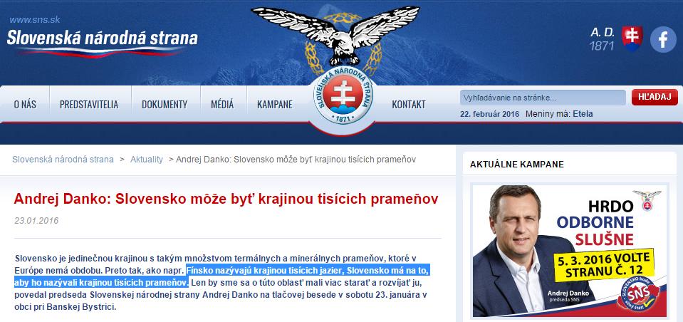 Andrej Danko Slovensko môže byť krajinou tisícich prameňov