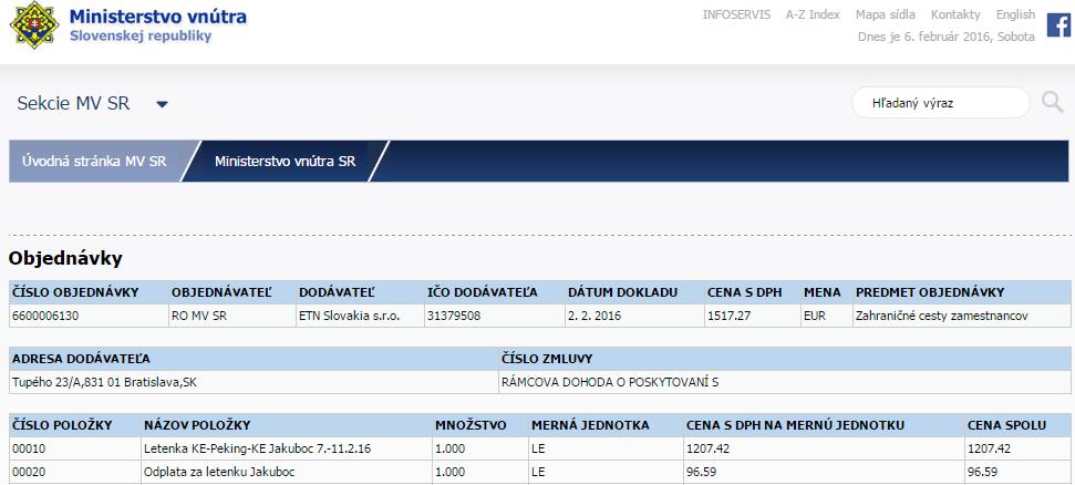Objednávky Ministerstvo vnútra Slovenskej republiky Peking