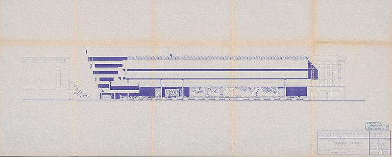 Čelný pohľad s nerealizovaným rožným vstupom od Bellušovho hotela Devín, 1969. Foto - SNG.