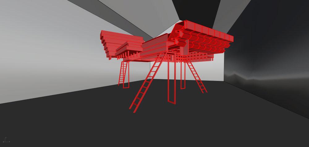Vizualizácia rozmerného modelu, ktorý by mal dominovať česko-slovenskému pavilónu v Benátkach. Bude vysoký viac ako dva a pol metra. Foto - Petr Hájek Architekti