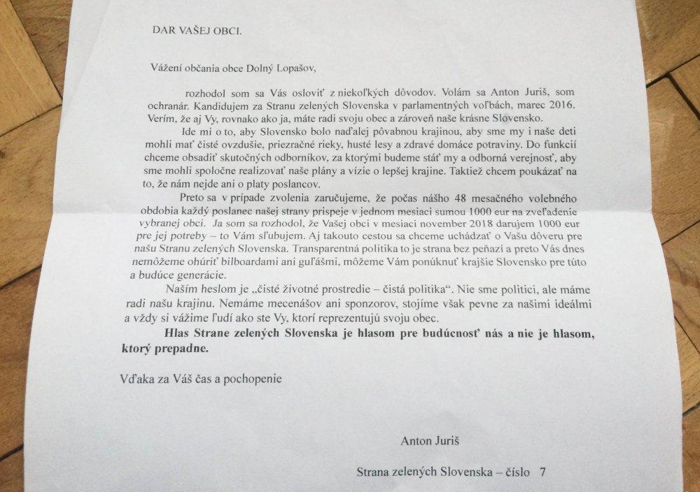 List od pána Juriša zo Strany zelených Slovenska
