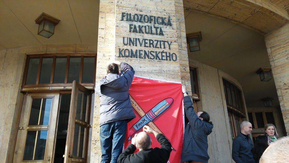 Začiatok štrajku na vysokých školách. Foto - Dušan Mikušovič