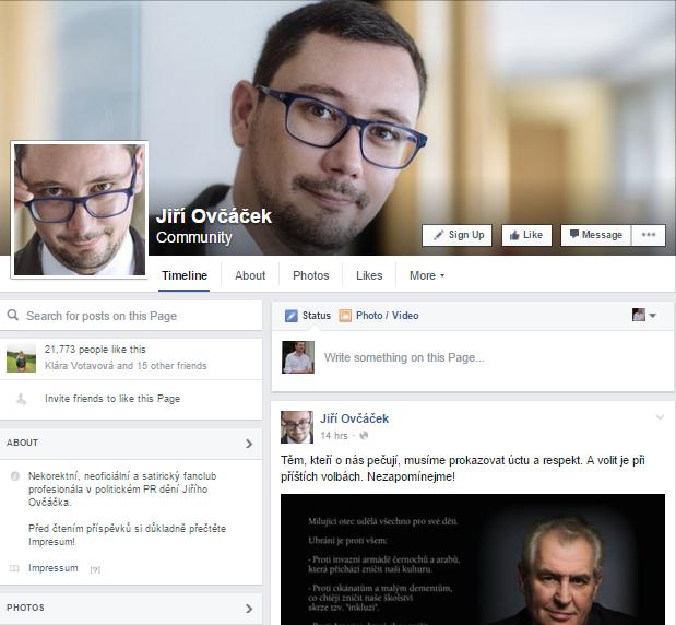 Ovčáček má na Facebooku aj falošný profil, ktorý sleduje 20-tisíc ľudí. Jeho správcom sa nedávno podaril pozoruhodný kúsok - vydávajúc sa za skutočného Ovčáčka zosmiešnili českú pobočku Slobodného vysielača, ktorý túžil po rozhovore so Zemanom.