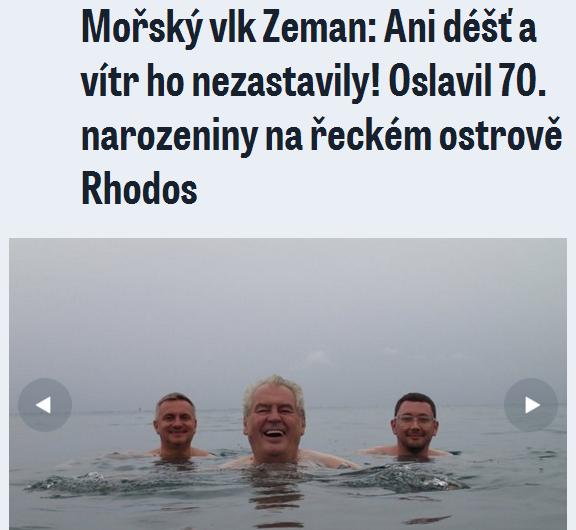 Ovčáček patrí spolu s kancelárom Vratislavom Mlynářom (vľavo) do najbližšieho prezidentovho okolia. Takto ich vyfotil denník Blesk v roku 2014, keď Zeman vystupoval na konferencii na Rhodose.