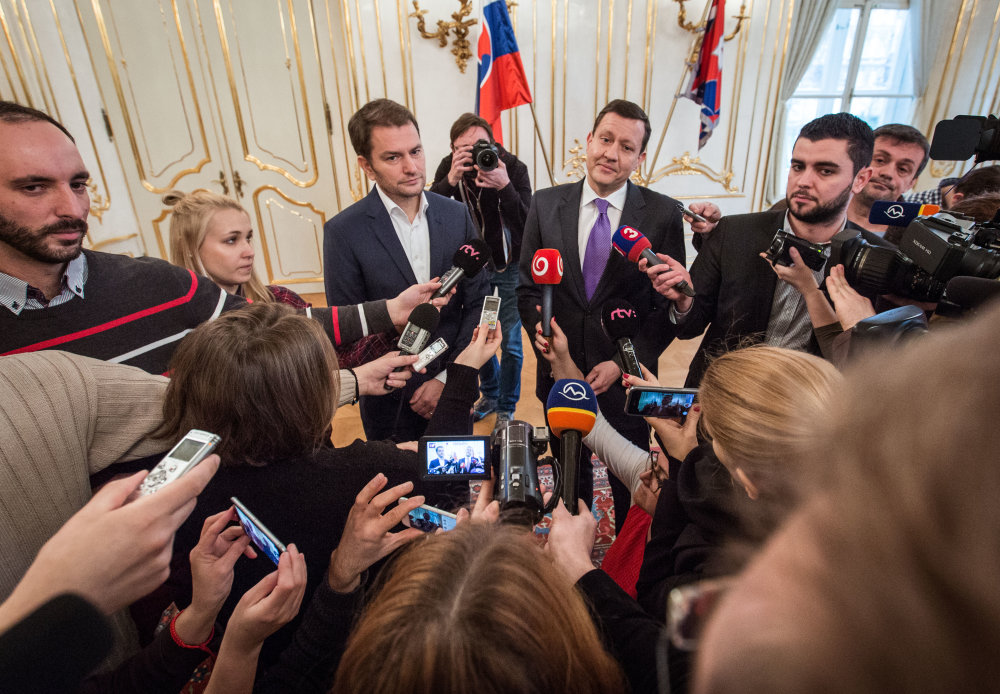 Igor Matovič a Daniel Lipšic v Prezidentskom paláci po marcových parlamentných voľbách. Foto N - Tomáš Benedikovič