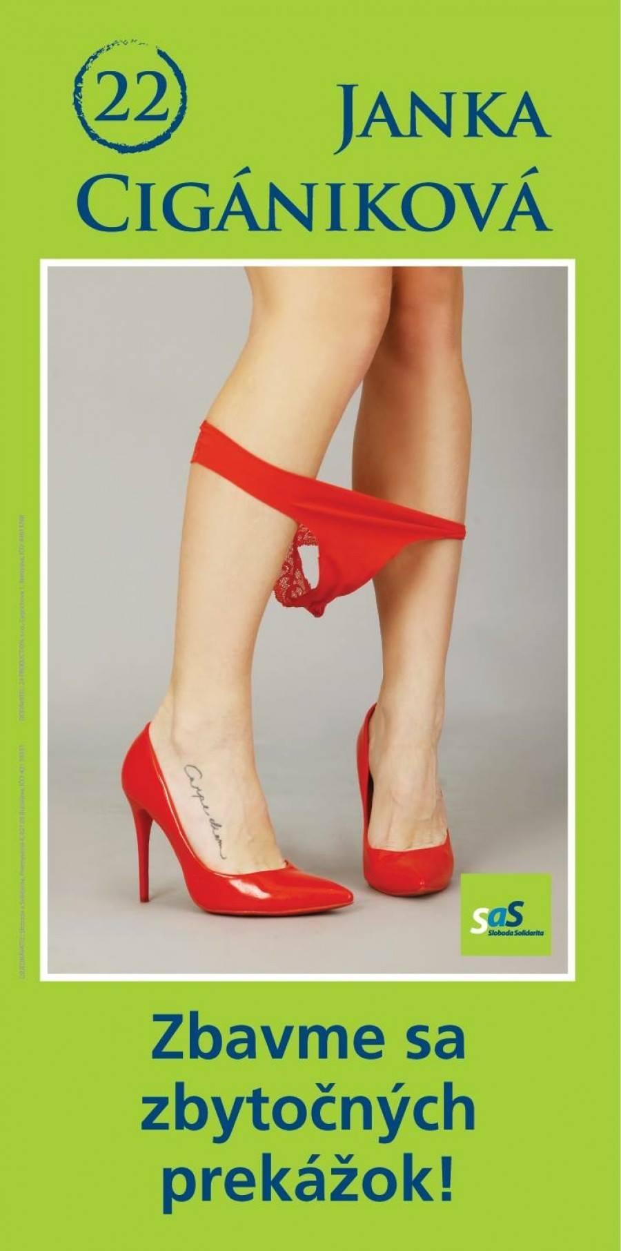 Reklama poslankyne Jany Cigánikovej, ktorá vyhrala anticenu za reklamu Sexistický kix. Zdroj - blog Jany Cigánikovej