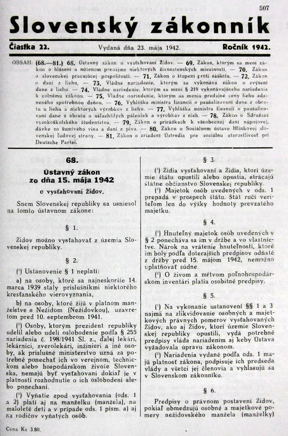 V roku 1942 ľudácky režim Slovenského štátu schválil ústavný zákon, ktorý zbavil deportovaných židov štátneho občianstva. Foto - TASR