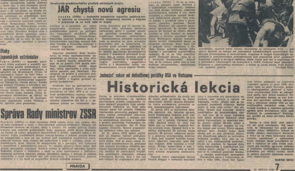 Nájdete správu o výbuchu v Černobyle? Pravda, 30. apríla 1986. Reprofoto - N