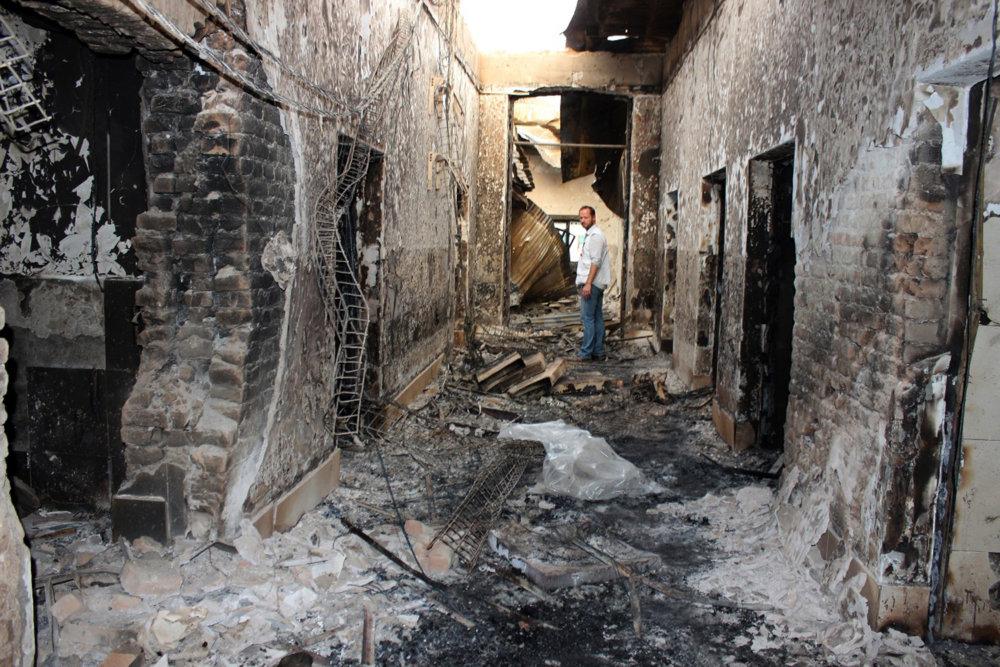 Nemocnicu Lekárov bez hraníc v afganskom Kunduze zničil americký nálet, zahynulo 20 civilistov. Foto - TASR/AP
