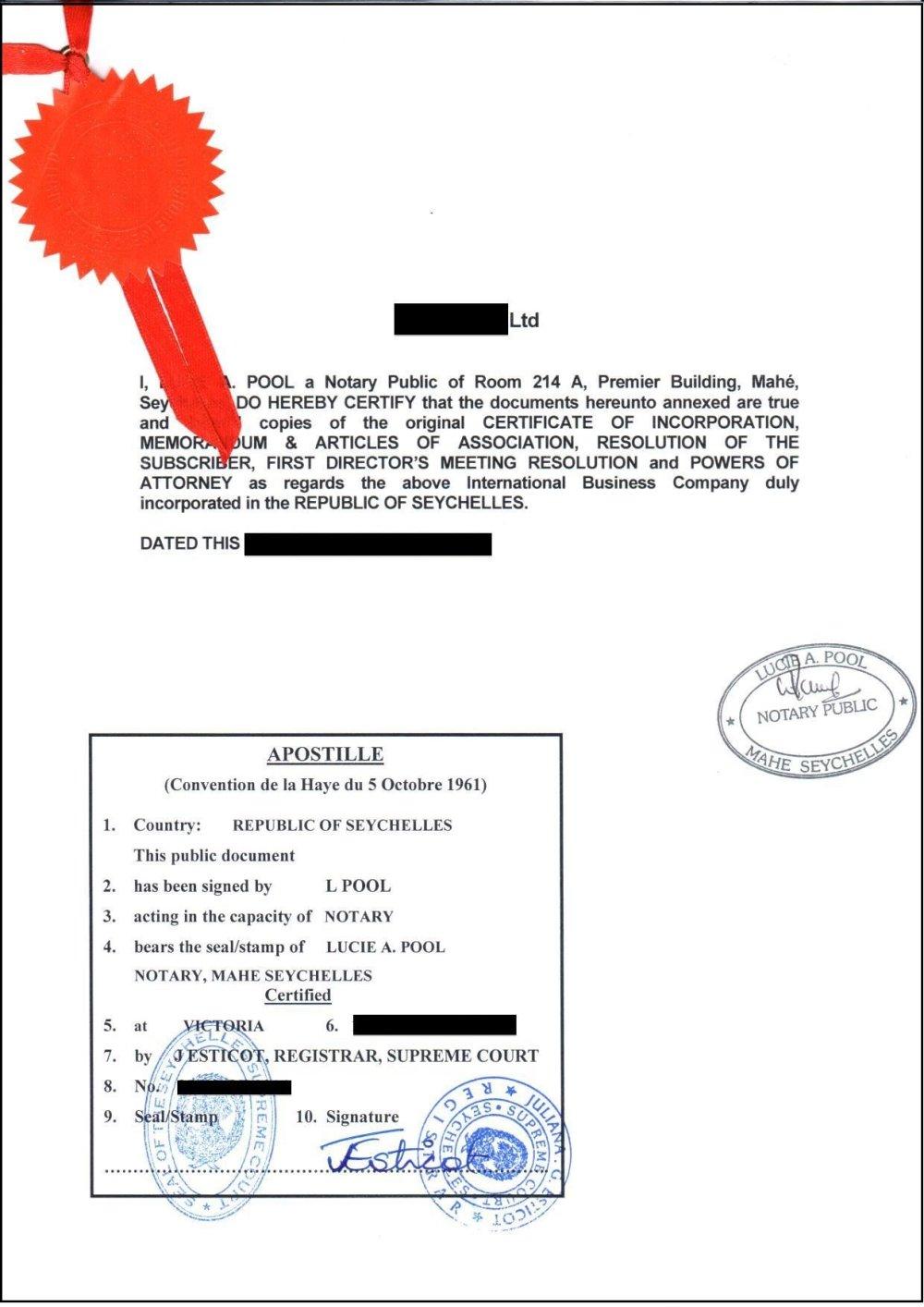 Apostilácia: seychelský notár potvrdzuje, že všetky dokumenty, ktoré dostal slovenský podnikateľ, sú pravé.