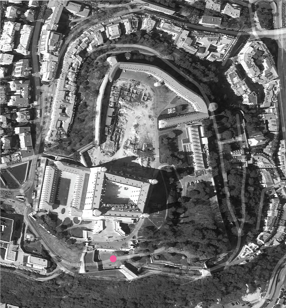 Mapa hradného okuláru s vyznačeným miestom zásahu.