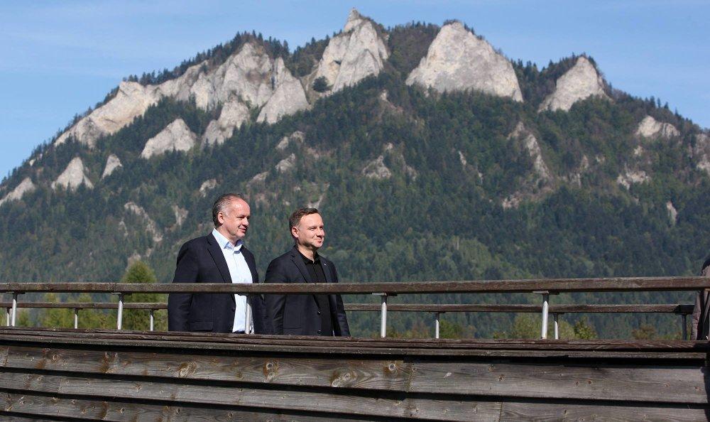 Kiska s poľským prezidentom Andrzejom Dudom pod vrchom Tri koruny. Foto – Kancelária prezidenta
