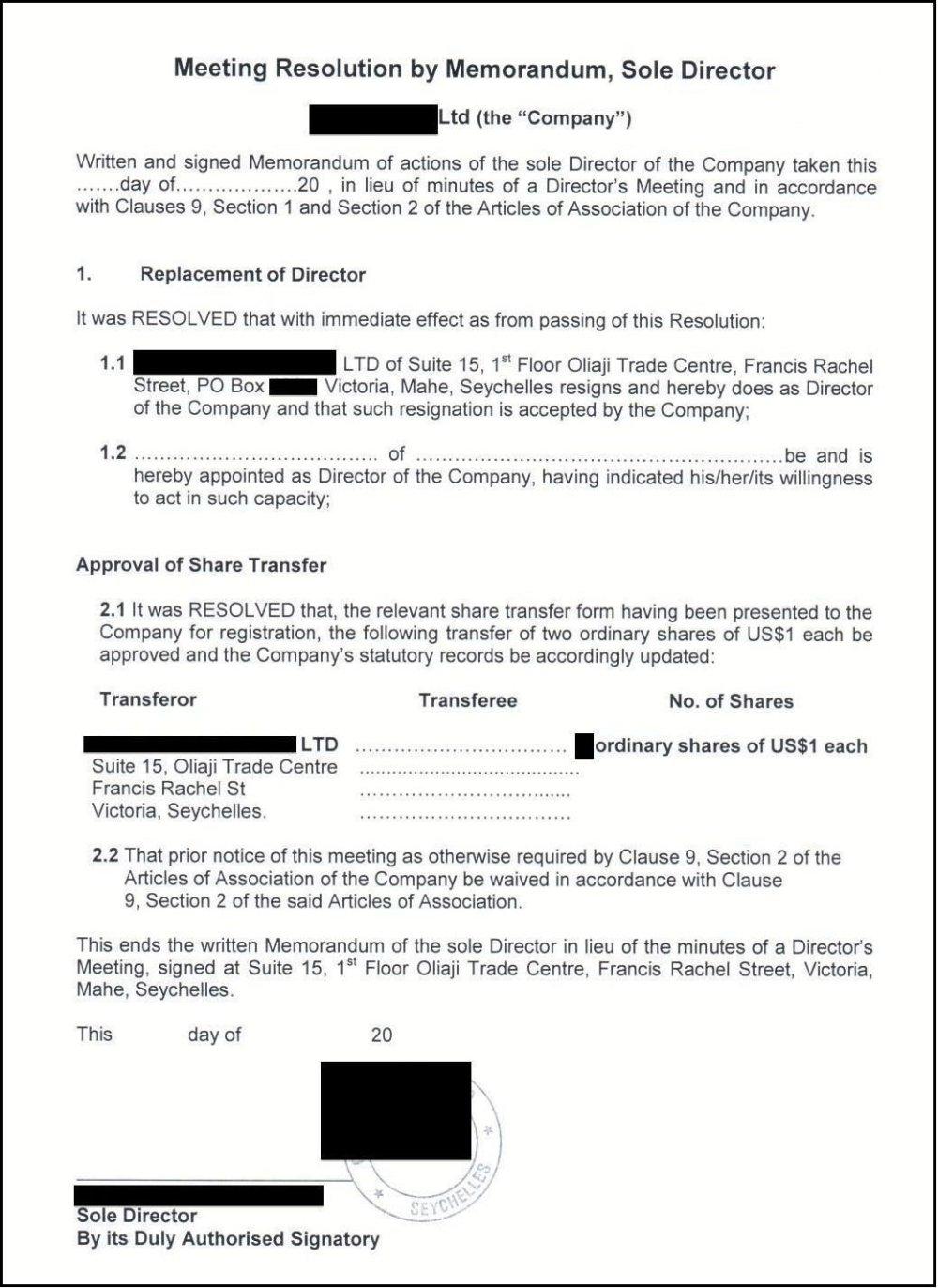 Predvyplnené a opečiatkované rozhodnutie o tom, že pôvodný konateľ už nie je konateľom a podiely vo firme sa prepisujú na nového nadobúdateľa - stačí doplniť jeho meno a dátum.