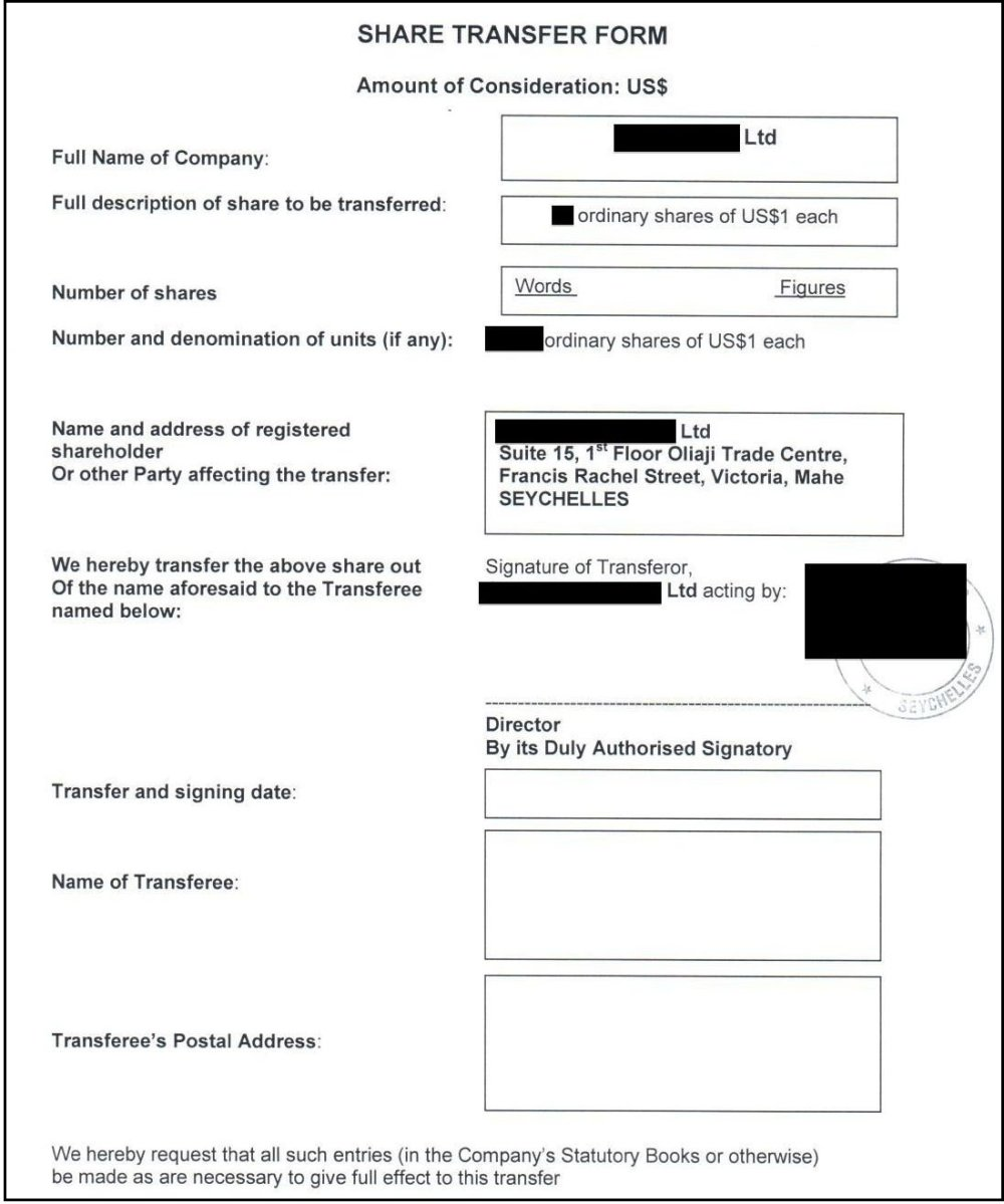 Predvyplnený formulár na presun akcií už aj s príslušnou pečiatkou oficiálneho vlastníka. Stačí len doplniť dátum.