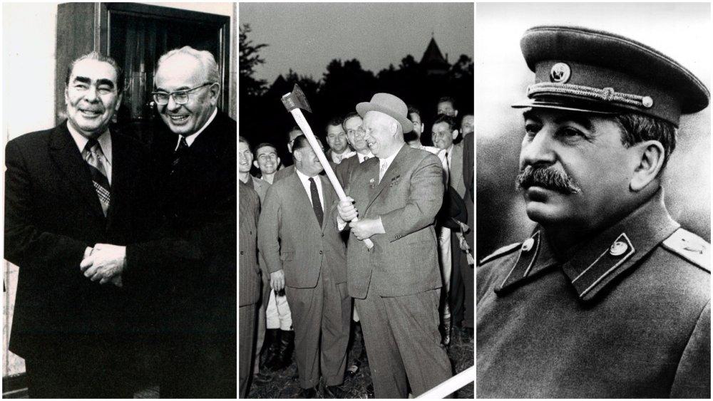 Brežnev s Husákom v roku 1975, Chruščov v roku 1961 v Bratislave a Stalin. Foto – TASR/AP