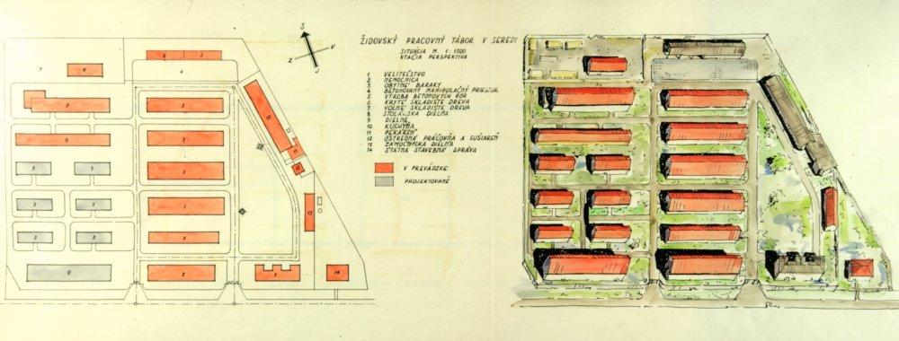 Plán pracovného a koncentračného tábora Sereď. Zdroj - Múzeum holokaustu