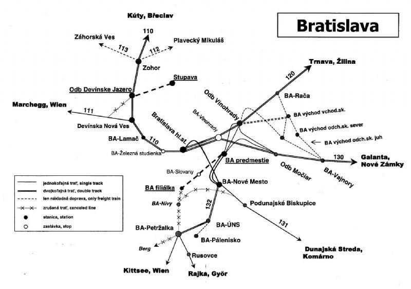 Železničná sieť na území hlavného mesta (v roku 2007). Zdroj - vlaky.net