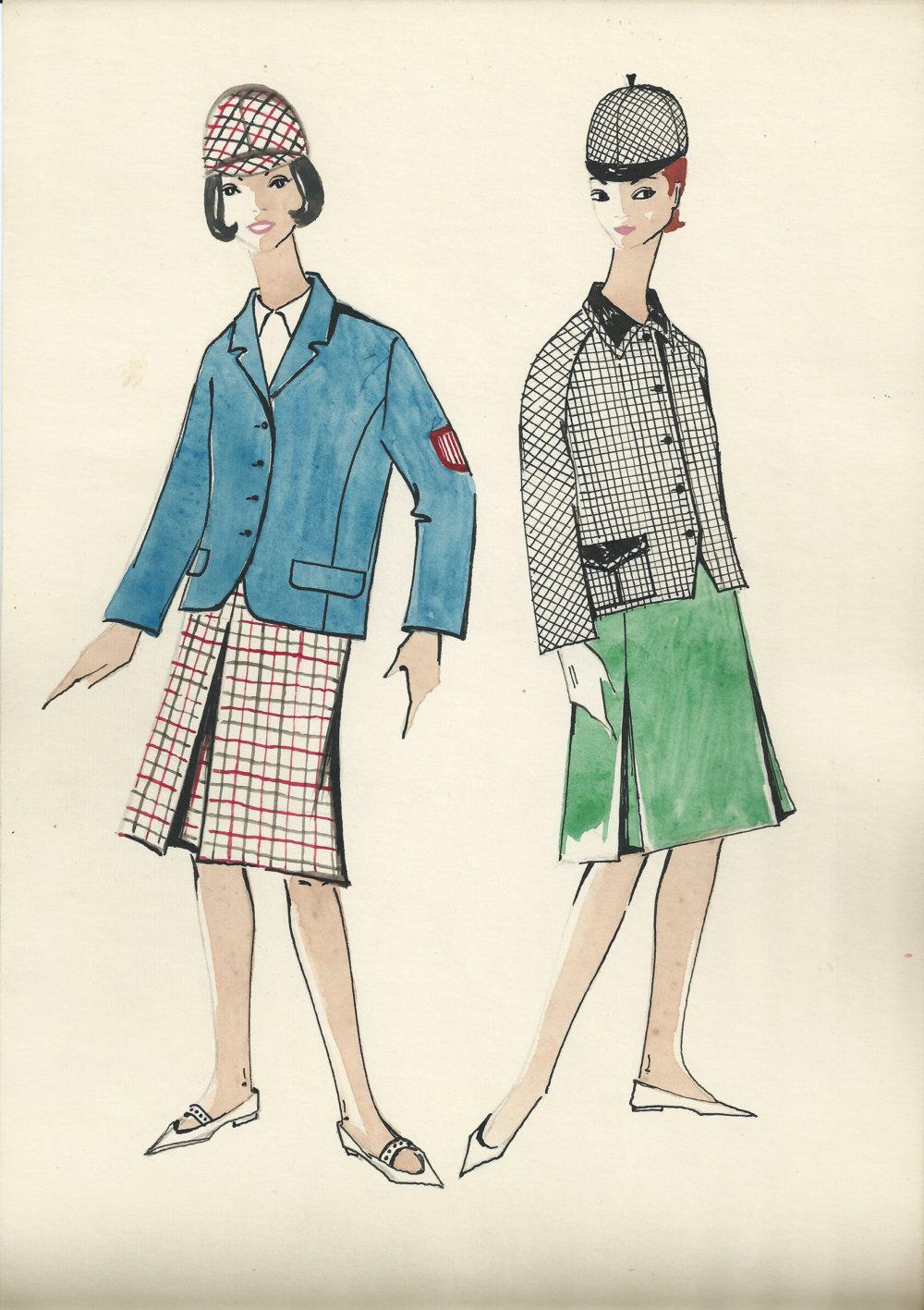 Módna kresba Alice Buchovej-Budovskej. Foto - Múzeum dizajnu
