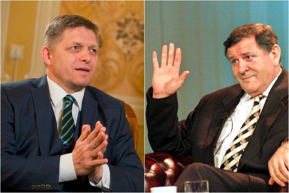 Premiér Robert Fico počas rozhovoru pre TASR, v ktorom zaútočil na mimovládky, a Vladimír Mečiar v roku 1998 po voľbách pri pamätnej rozlúčke v STV. Foto – TASR