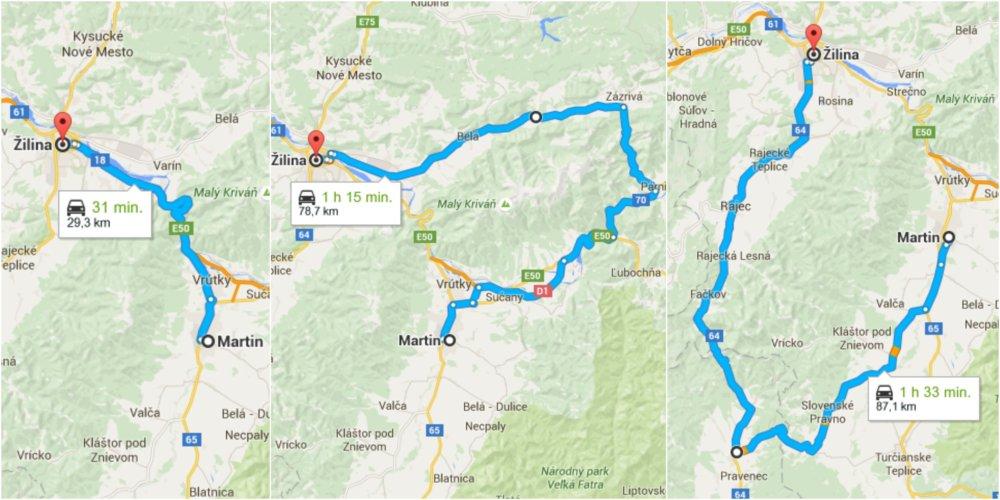 Martin a Žilina sú od seba 30 kilometrov, cesta medzi nimi bude trvať viac ako hodinu a štvrť. Mapy - Google Maps
