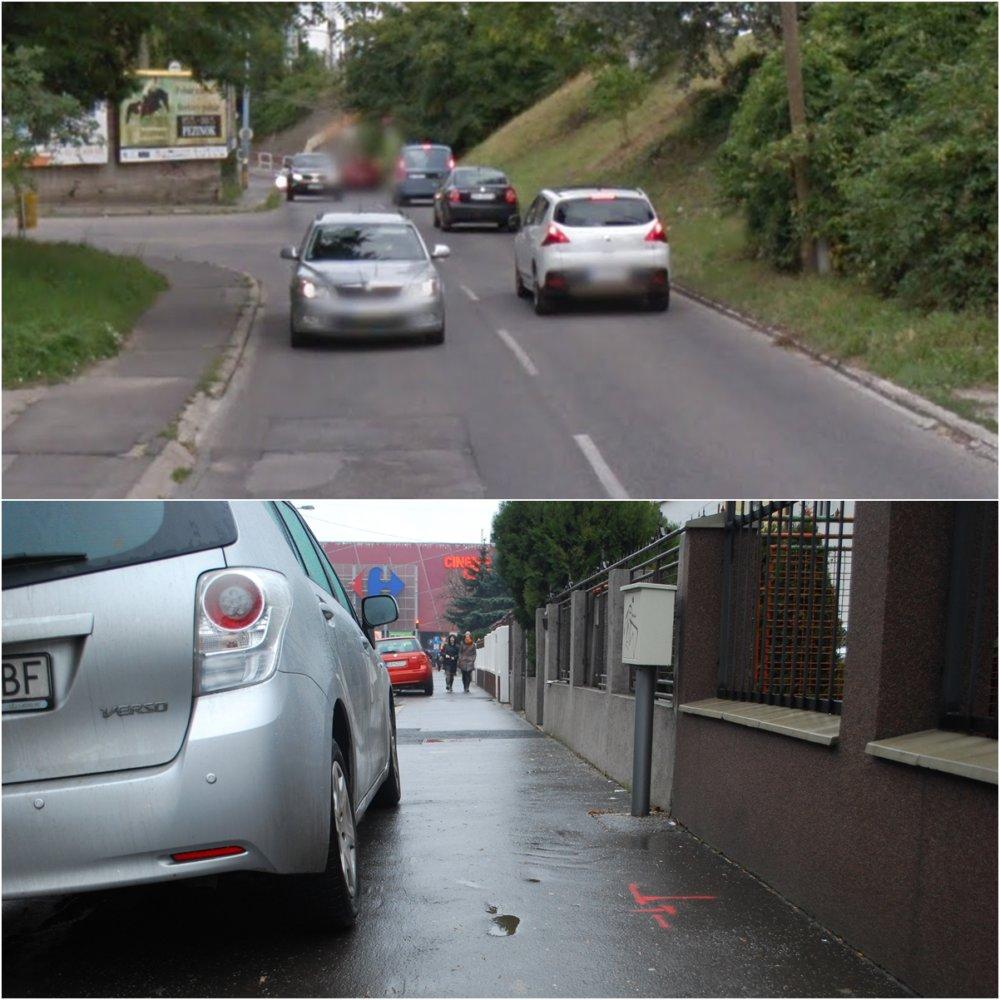 Chodci na chodníku kráčajúci ako jazdia autá na ceste