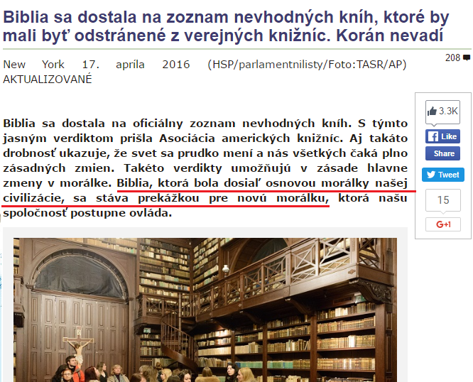 Biblia sa dostala na zoznam nevhodných kníh ktoré by mali byť odstránené z verejných knižníc. Korán nevadí Hlavné správy
