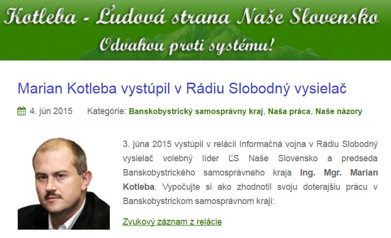 Marian Kotleba vystúpil v Rádiu Slobodný vysielač Kotleba Ľudová strana Naše Slovensko
