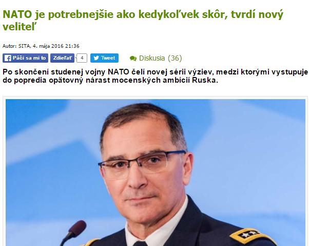 Rovnaká správa ale úplne iný titulok. Podľa serveru webnoviny.sk, ktorý spadá pod agentúru SITA, generál hovoril hlavne o význame NATO.