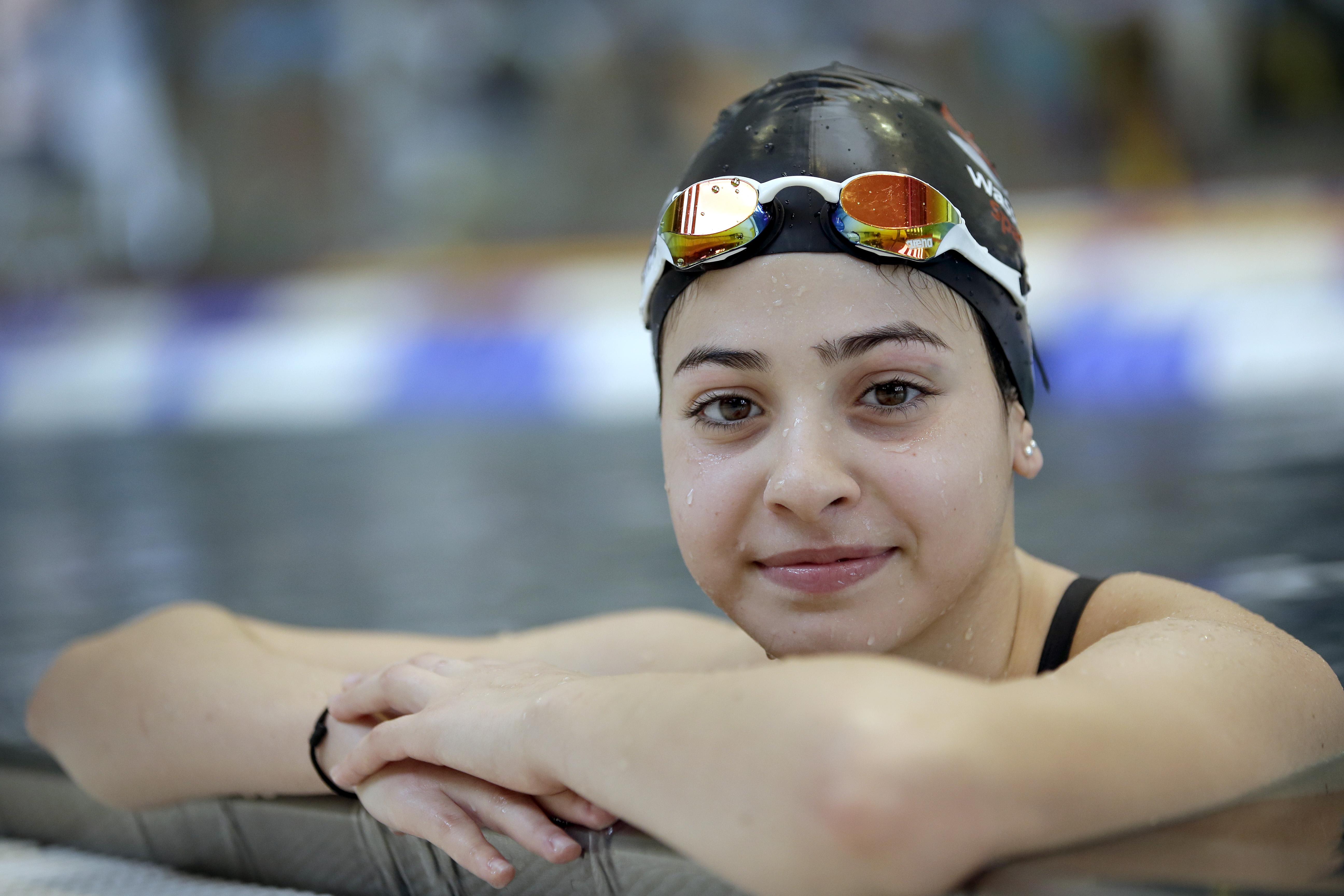 Jusra Mardini počas tréningu v Berlíne v novembri 2015. Foto: AP/tasr