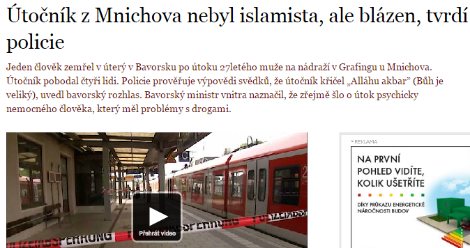 Priklad Útočník zMnichova nebyl islamista - aktualizacia na novinkach