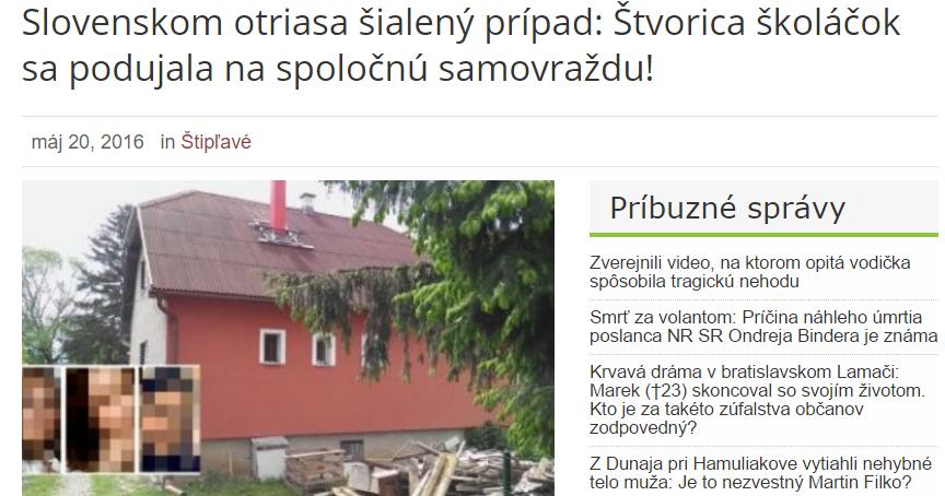 Slovenskom otriasa šialený prípad Štvorica školáčok sa podujala na spoločnú samovraždu Pán Občan