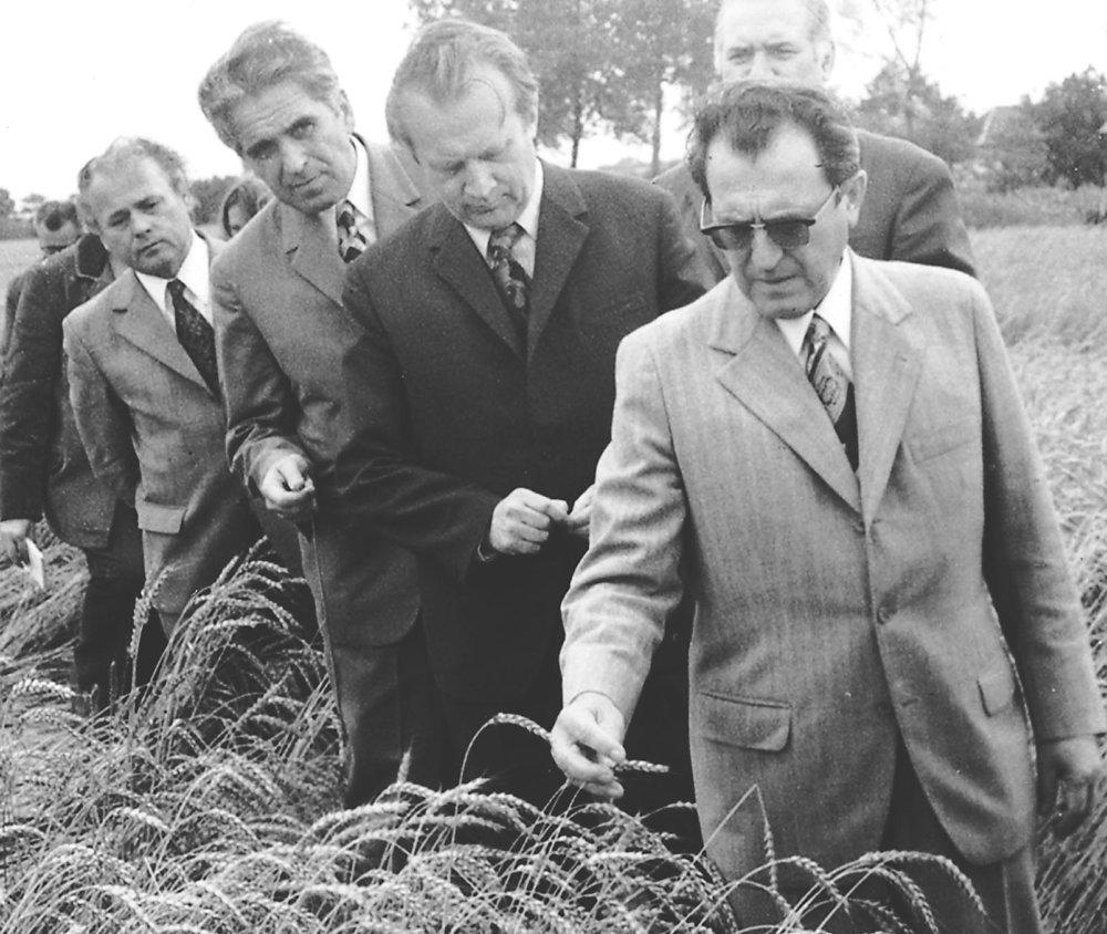 Tradičný žánrový obrázok z časov normalizácie – súdruh Biľak bol v roku 1974 skontrolovať úrodu. foto – TASR