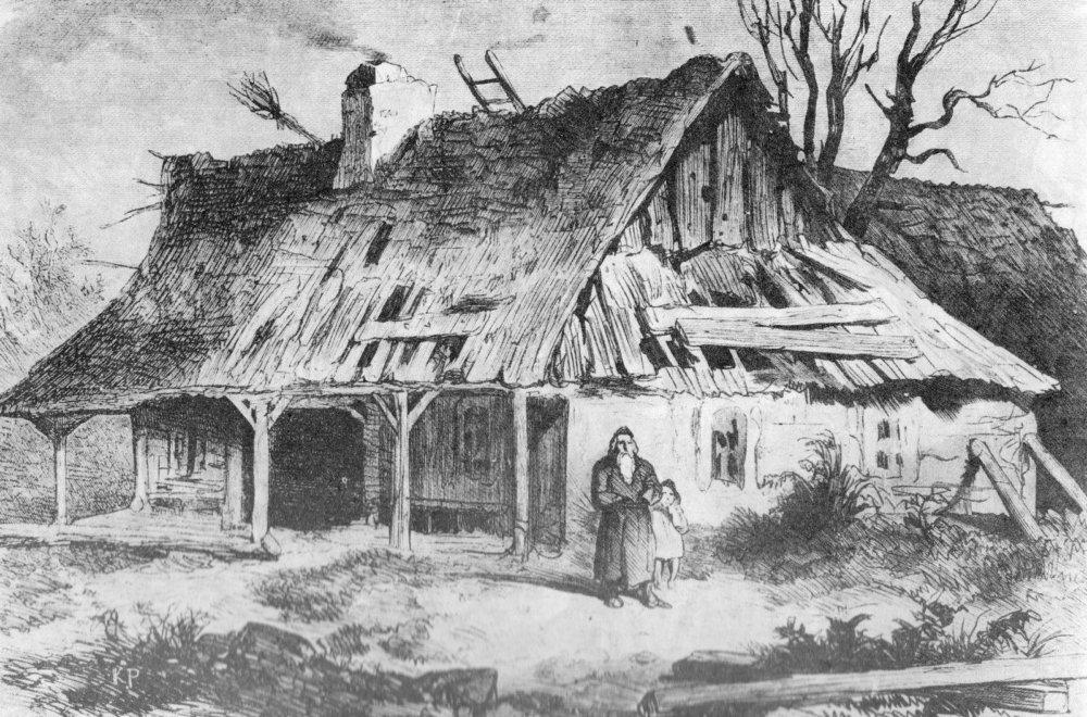 Typický dom v Haliči koncom 19. storočia (zdroj: historiarabki.blogspot.com)