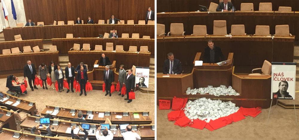 Poslanci vysypali v parlamente nepravé bankovky v hodnote12 miliónov eur, čo je suma, ktorú vraj Bašternák zaplatil v hotovosti. Foto – N