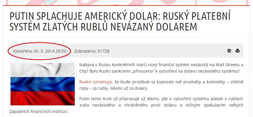 AC24.cz Putin splachuje americký dolar Ruský platební systém zlatých rublů nevázaný dolarem – kópia