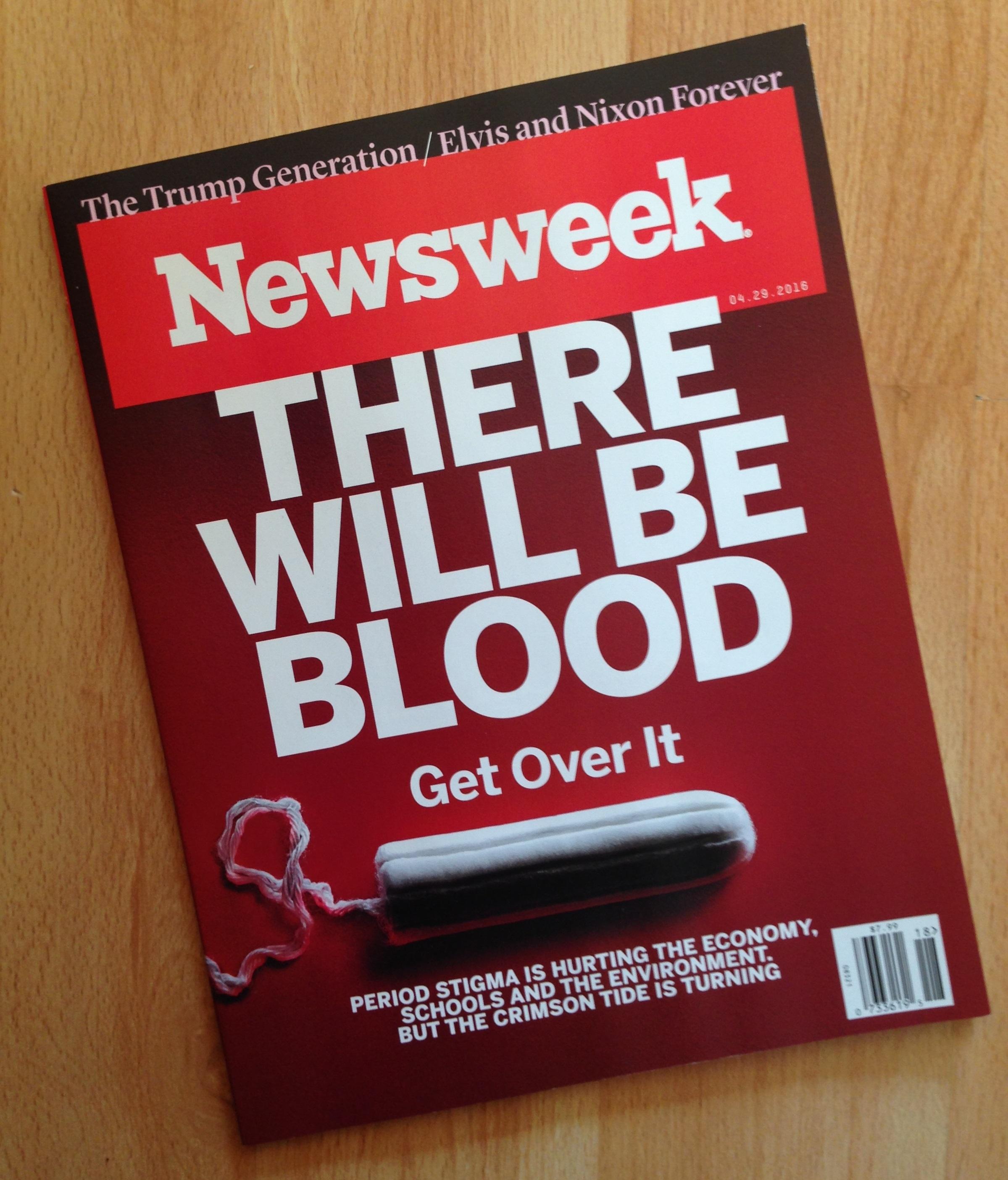 Časopis Newsweek vyšiel v apríli 2016 s tampónom na obálke.