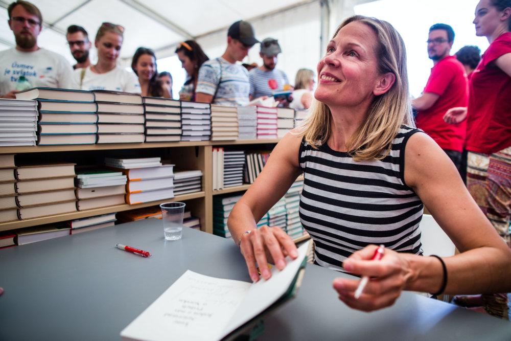 Do Trenčína prišla aj nórska spisovateľka Åsne Seierstad, autorka knihy o Breivikovi. Foto N - Tomáš Benedikovič